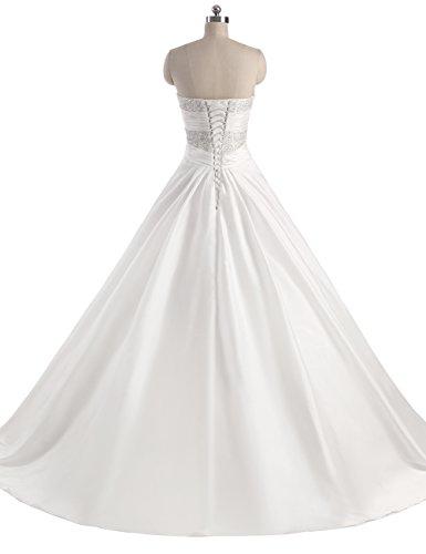 Erosebridal Neu Weiß Satin Brautkleid Hochzeitskleid Abendkleid Ballkleid DE40 -