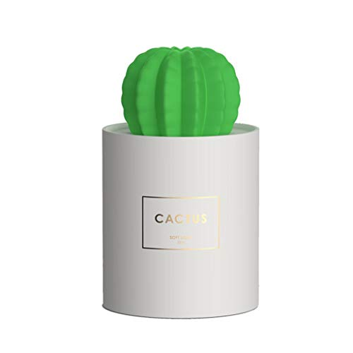 QUICKLYLY 280Ml Humidificador Aromaterapia Difusor Aceites Esenciales Ultrasónico Pequeño Radiador Esencias Purificar Aire Humectador Cactus Luz Noche Mini Cool Mist USB Portable Air