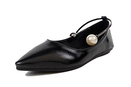 GLTER Frauen Geschlossen-Toe Pumps Court Schuhe Ankle Strap Pumps Sommer Neue flache Schuhe Spitz Flache Mund Schuhe Test Fuß Ring Perle Schuhe Party Kleid Schuhe Plattform Schuhe Black