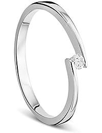 Orovi Damen Verlobungsring Gold Solitärring Diamantring 14 Karat (585) Brillianten 0.05crt Weißgold Ring mit Diamanten