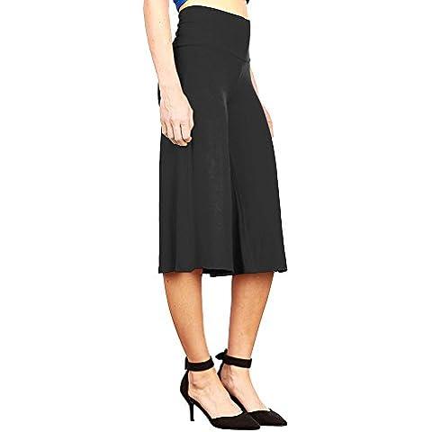 Moollyfox Mujer Confortable Talle Alto Poliéster Suelto Casual Rígido Pantalón De Pierna Ancha Negro XXL