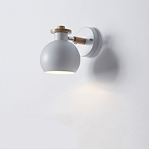 Kreative Eisen Wandlampen, Nordic Mini LED Massivholz Dekorative Wand Hängeleuchte Moderne minimalistische Wohnzimmer Studie Kind Wandleuchte Postmodern Esszimmer Korridor Loft Wandleuchte ( Color : White )