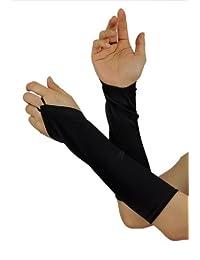 Longs gants de soirée satinés, sans doigt, à couleur unie. Produit offert par NYfashion101.