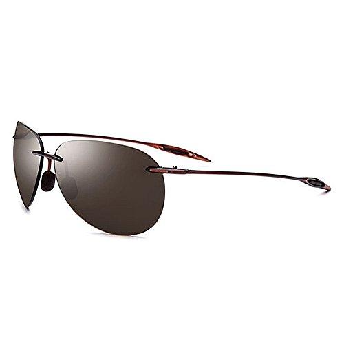 Xiuxiushop Polarisierte Sonnenbrillen der Männer Heiße Mode-Gläser für das Fahren im Freien Fischen Golf , Metallrahmen (Color : Brown)