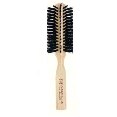 3 vE premiere 2035 - Brosse professionnelle pour cheveux ronde avec manche en bois de hêtre, poils résistant