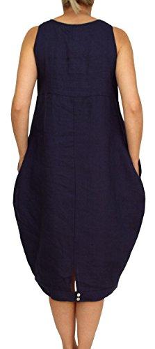 24098 Mesdames, Dames, Femmes robe en lin longue, sans manches, morceau de ballon, M, L, XL, XXL. bleu foncé