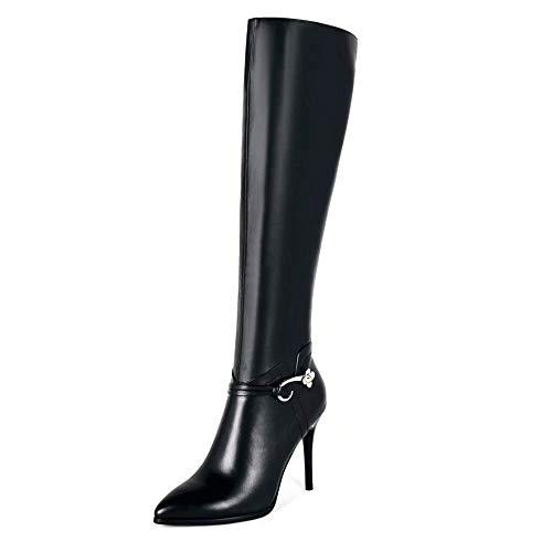 Caitlin Pan Damen Fashion Overknee hohe Stiefel Reißverschluss Spitz Leder Pfennigabsatz Oberschenkel Hohe Westernstiefel