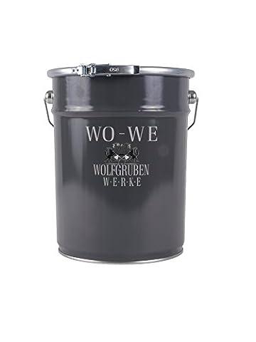 METALLSCHUTZLACK Typ Wolfgruben Werke (WO-WE) W900 als ROSTSCHUTZ Lack zum Korrosionsschutz von Metall Stahl Eisen Rohstahl / zuverlässiger Langzeit Anti Rost Schutz für Innen + Außen-Bereich / z.B. Tor, Zaun, Industrie Container / TÜV-GEPRÜFT / wetterbeständig / Telegrau 1 entspr. RAL (Auswahl Innen Anhänger 1 Licht)