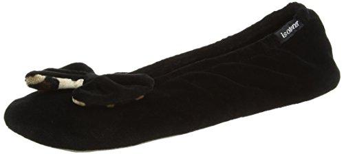isotoner-velour-big-bow-ballerina-chaussons-a-doublure-chaude-femme-noir-black-black-panther-xl