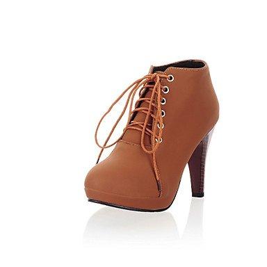 GLL&xuezi Da donna Tacchi Comoda Innovativo Stivaletti alla caviglia Finta pelle Primavera Inverno Casual Lacci A stiletto Nero Beige Marrone scuro dark brown