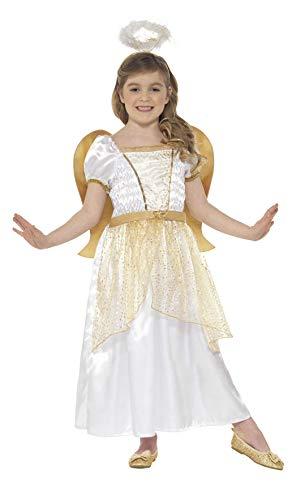 Smiffys 21811S - Kinder Mädchen Engel Kostüm, Alter: 4-6 Jahre, One Size, weiß/gold