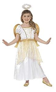 Smiffys-21811M Disfraz de ángel y Dorado, con Vestido, alas pegadas y Aura Color Blanco y Oro M - Edad 7-9 años Smiffy