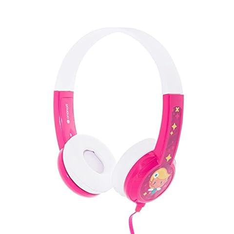 Kinder-Kopfhörer von Onanoff. Model BuddyPhones – Lautstärkebegrenzung – verstellbares Gehäuse – integrierter Kopfhörer-Splitter – sehr langlebig – hypoallergene Polsterung – für iPad, iPhone, Kindle, Computer, Tablet, Smartphone und andere Geräte – Verpackt in den USA – Pink
