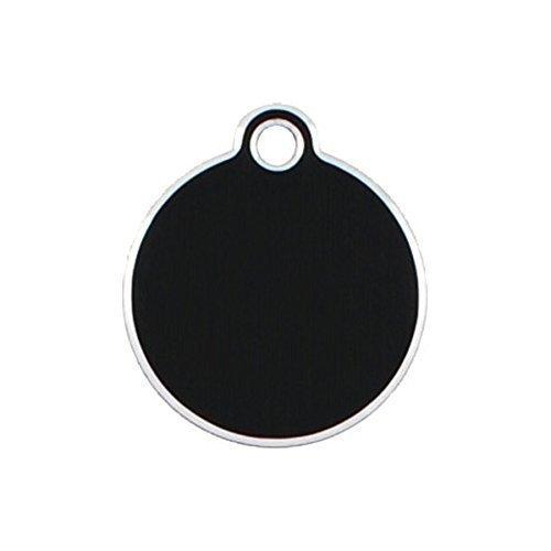Adressanhänger mit Gravur - rund klein - mit Rand - Schwarz