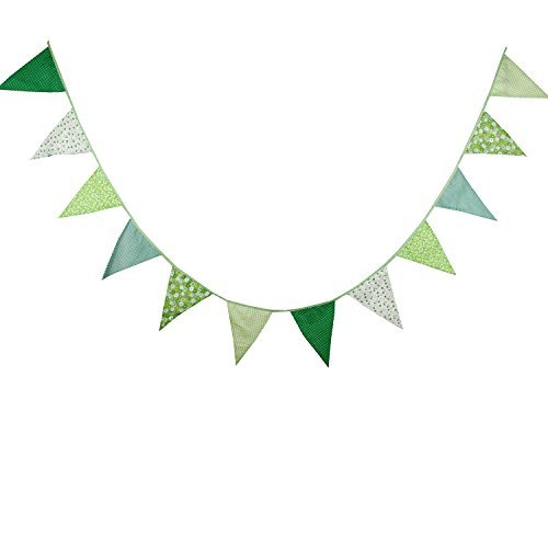 Green Vintage Fabric Big Flag Buntings Garlands Wedding Birthday Party Decoration