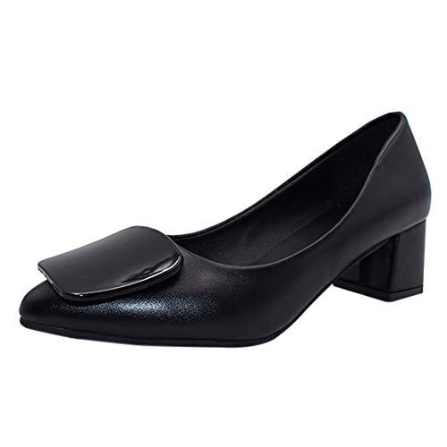 uirend Schuhe Damen Arbeits Berufsschuhe - Frau Pumps Blockabsatz Spitze Bequem Uniform Formal Büro Business Abendschuhe