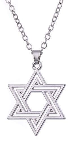 VASSAGO Wicca - Collar con Colgante de Estrella judía de hexagrama y talismán para Hombre y Mujer
