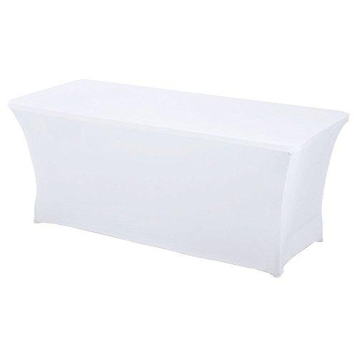 HAORUI Spandex Stretch Lycra Tischdecke 240cm Rechteckige Form Hochzeit Bankett Aufgebockter Tisch (Weiß) -