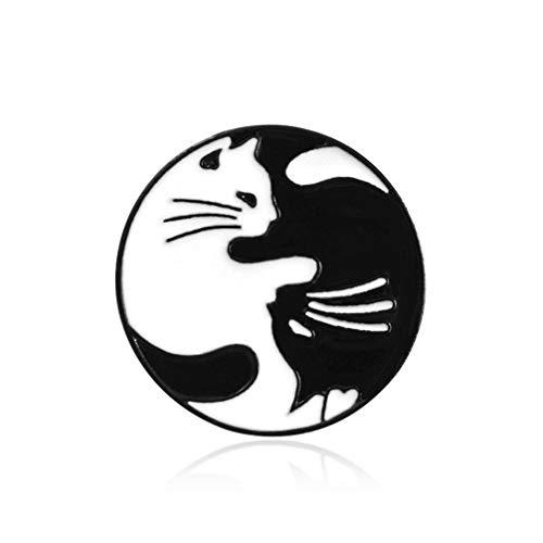 BUHBU Nette Schwarze weiße Katzen-Brosche steckt kreative Katzen-Umarmungs-runde Abzeichen-Email-Pin-Bekleidungszubehör fest