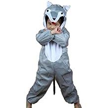 Niños Disfraces de animales Niños Niñas Unisex Disfraces cosplay Niños onesie (Lobo, L (Para niños de 105 - 120 cm de altura))