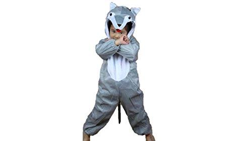 Jungen Mädchen Unisex Kostüm Outfit Cosplay Kinder Strampelanzug (Wolf, XL (Für Kinder von 120 bis 140 cm)) ()