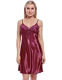 BellisMira Sexy Lace Satin Chemise Nightwear Full Slip Silk Sleepwear  Padded Unpadded Sleep Dress Silky 3597b7ef1