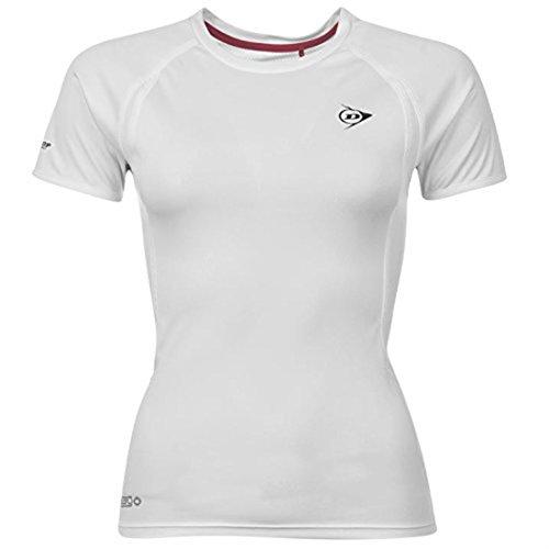 Dunlop-Perf T-Shirt Tee-Shirt à manches courtes pour femme Empiècements en maille filetée Blanc - Blanc