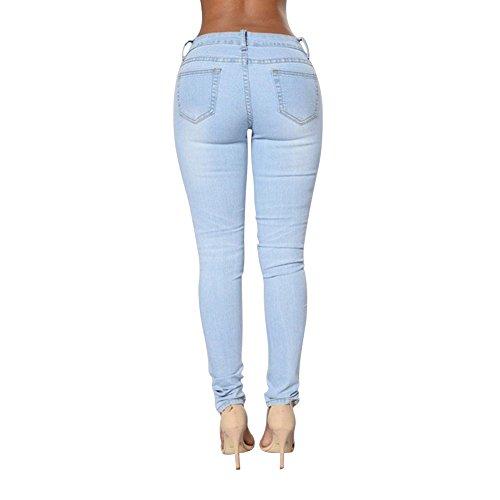 Mena Uk Femmes Ripped Coupé jeans Jeggings Jeans en crayon à tube Bleu clair