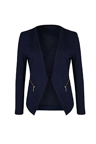 Mr.Shine Blazer kragenlos mit Zipper (XL, Navy)