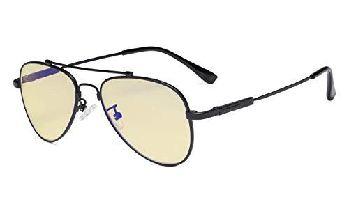 Eyekepper Computer-Brille für Kinder Anti-Blau-Licht-Brille Pilot Style Memory Fassung -Gelb getönte Linse Schwarz