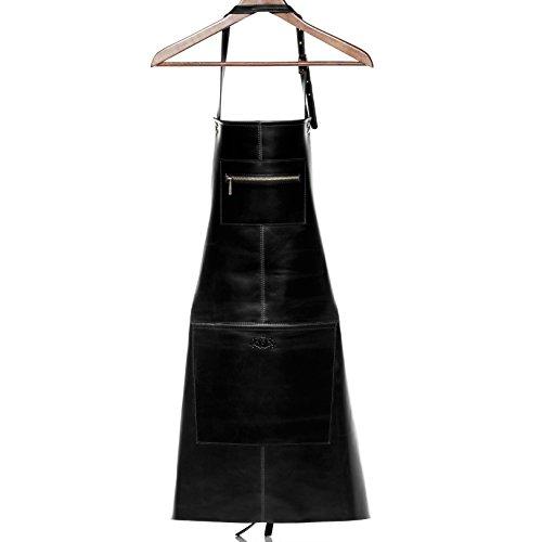 SID & VAIN grembiule barbecue vera pelle HEATHROW grande Grembiule per cuochi Grembiule per grigliate uomo donna cuoio nero