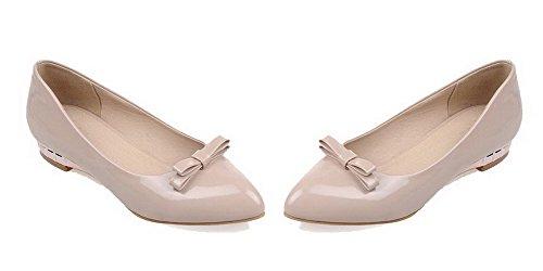 AgooLar Damen Niedriger Absatz Lackleder Rein Spitz Zehe Ziehen Auf Pumps Schuhe Aprikosen Farbe