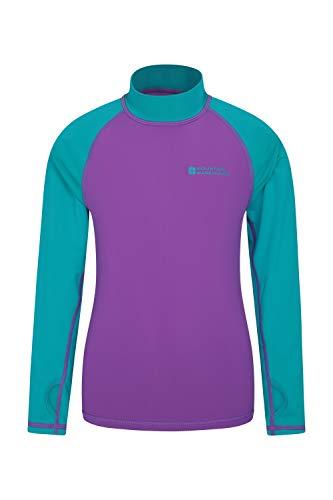 Mountain Warehouse Badeshirt für Kinder - Schwimmshirt mit UV-Schutz, Schnelltrocknendes Rash Guard Stretch, Langarmshirt für Kinder, Flache Nähte Violett 128 (7-8 Jahre)