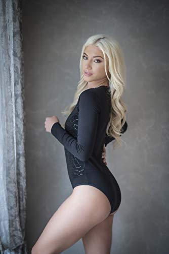 Evoni Damenbody |Langarmbody für Frauen |Langarmshirt Bodysuit| 3 Verschluss Haken|Basic Frauen Body Baumwolle | Lederbody | Samtbody (XL, Carbon-Schwarz) - 3