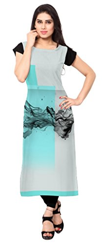 Ziyaa Aqua Blue Colour Boat Neck With Cap Sleeve Faux Crepe Digital Print Kurti  available at amazon for Rs.499