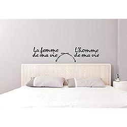 Sticker mural Tête de lit marque Beestick personnalisable modèle FR-002 - texte du sticker, couleur et taille personnalisables