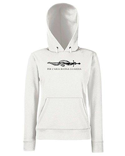 T-Shirtshock - Sweats a capuche Femme T0635 PER L ARIA BUONA GUARDIA gabriele d annunzio politica Blanc
