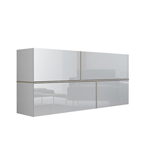 Mirjan24 Kommode Goya, Hängekommode, Anrichte, Mehrzweckschrank,  Wohnzimmerschrank, Highboard, Sideboard, Wohnzimmer Schrank (Weiß/Weiß  Hochglanz + ...