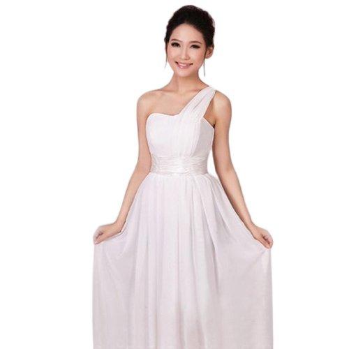 Damen schulter Tunika Maxi kleid Abendkleid Weiß