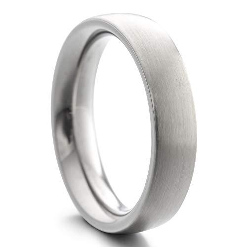 Heideman Ring Damen und Herren Paari aus Edelstahl Silber Farben poliert oder matt Damenring für Frauen und Männer Partnerringe 5mm breit schmaler gewölbter Ring strichmatt Gr.59 hr7025-4-59
