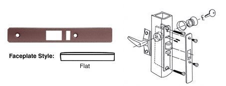 Deadlatch Lock (CRL Dark Bronze Finish Flat Faceplate for DL2140 Series Deadlatch Lock by C.R. Laurence)