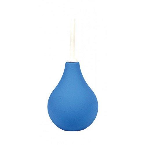 Sanity Klistierspritze mit glattem Klistier Rohr - Analdusche / Intim Dusche mit Kanüle - Blau / weiß - ca. 18,5 cm lang, davon ca. 6,5 cm einführbar - Aufsatz Ø bis ca. 9 mm - Inhalt ca. 225 ml