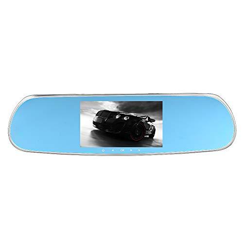 Dash cam, awq7 videocamera per auto, kkmoon 5 pollici car dvr dashboard camera android navigatore gps doppia lente telecamera per auto 1080p specchietto retrovisore con telecamera con wifi,g-sensor,fm