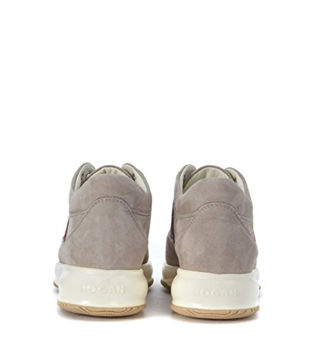 Sneaker Hogan Interactive in camoscio taupe e micropaillettes Grigio