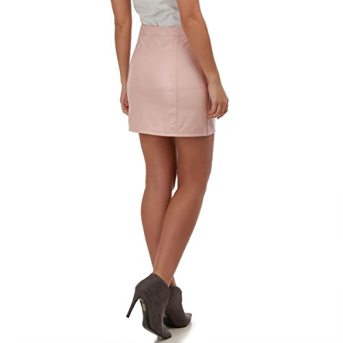 La Modeuse - Mini jupeen simili cuir Rose
