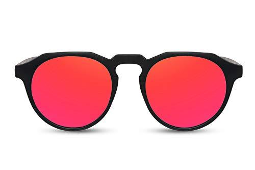 Cheapass Sunglasses Sonnenbrille Beliebt Matt Schwarz Runder Stil mit flacher Spitze und roten verspiegelten Gläsern Männer Frauen