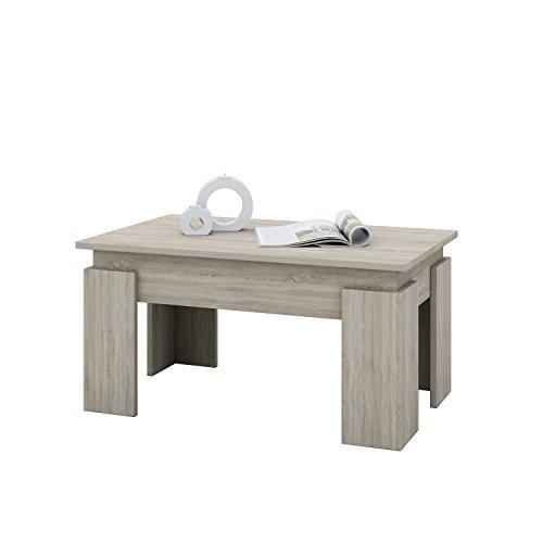AISEN AI 00080 Couchtisch, Holzwerkstoff, Sonoma eiche Dekor, 50 x 80 x 43 cm