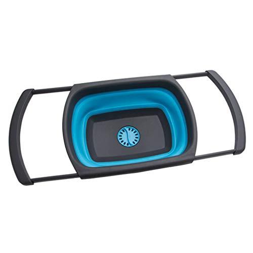 Chshe®-Micro-Perforated Colander, Faltbarer Abflusskorb Tragbares Zusammenklappbares Picknickbecken Mit Wasserleckfunktion, Waschsieb (Blau) Deep Colander