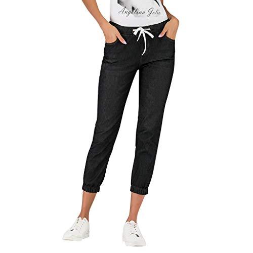 GreatestPAK Damen Jeanshose Jogginghosen Tunnelzug elastische Taille Jeans Kurze Hosen Schnürhose schmal Laterne,Schwarz,L