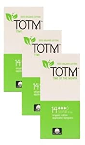 THREE PACKS OF 14 Organic cotton Applicator Tampons (Super) 100% Biodegradable, 100% Organic Cotton, pH Neutral